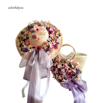 Knitted Straw Bag For Women Tote Summer Handmade flowers Ribbon Women's Handbags Straw Hat With Traveling Beach Bag purple color