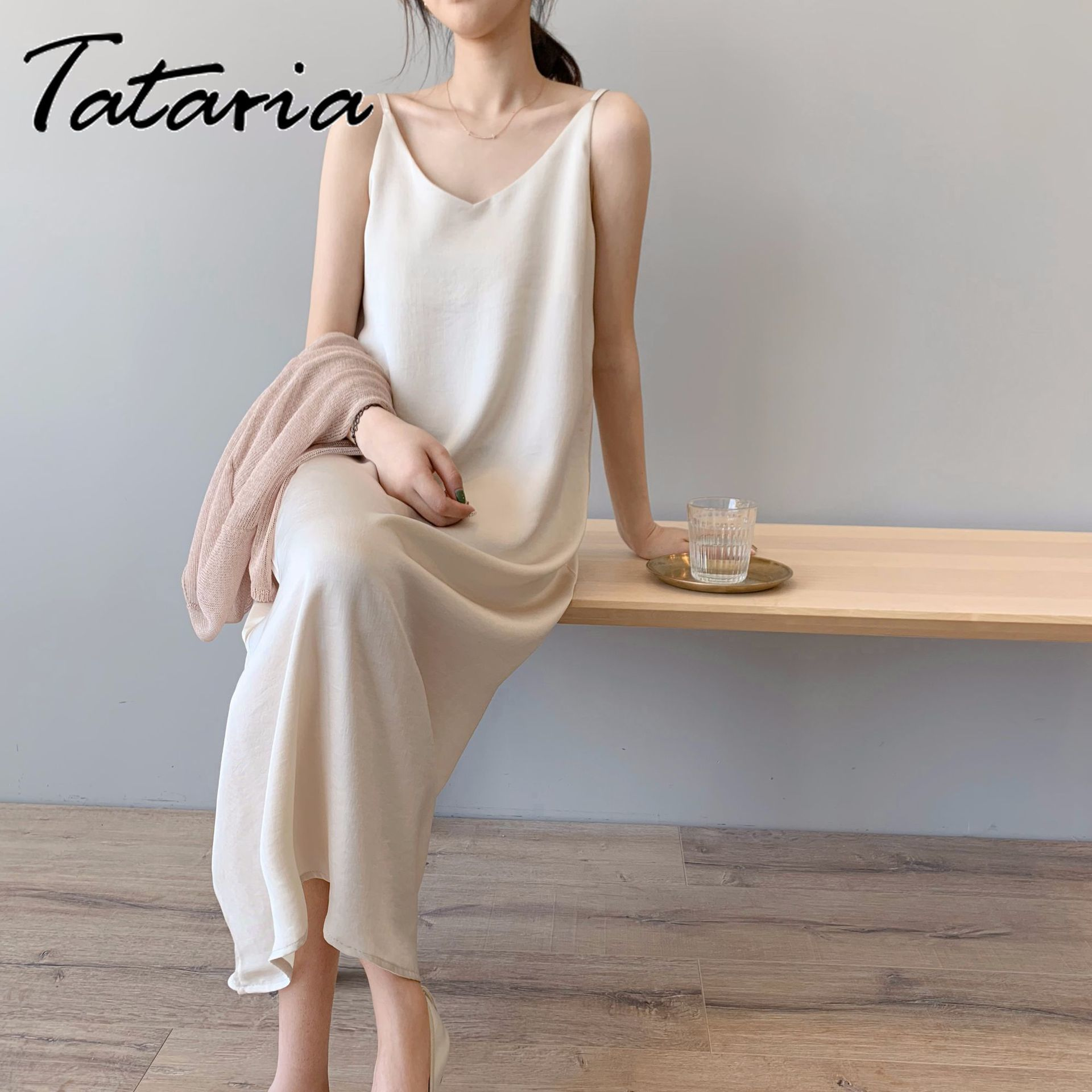2020 Women Spring Summer Satin Dress Luxury Shiny Sundress Vintage