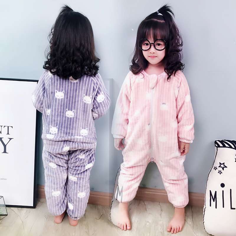 Baby One-piece Pajama Coral Velvet Autumn And Winter 1 Children Tracksuit 4 Plus Velvet Men And Women Child Crawling Clothes 2 B