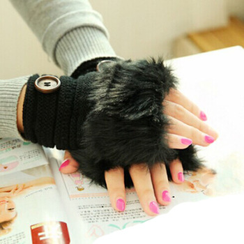New Knitted Winter Mittens Warmer Women Fingerless Wrist Gloves Faux Rabbit Fur Ladies Casual Warmers Accessories Outdoor Gloves pair of stylish solid color faux fur fingerless gloves for women