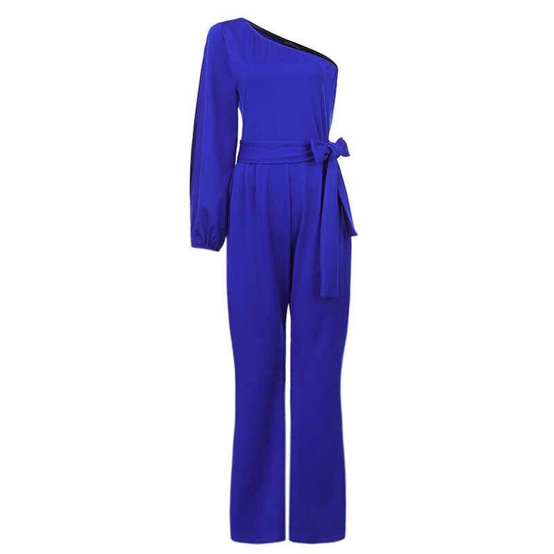 2020 ZANZEA kadınlar tulumlar yaz kapalı omuz tulum rahat ofis bayan Playsuits tulum katı yüksek bel uzun parlama Pants7