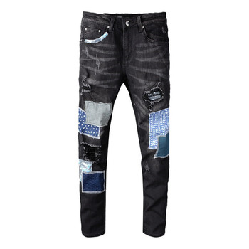 MORUANCLE Mens Designer Ripped Patched Jeans Pants Hi Street Destroyed Denim Trousers With Patches Holes Skinny Jeans Plus Size