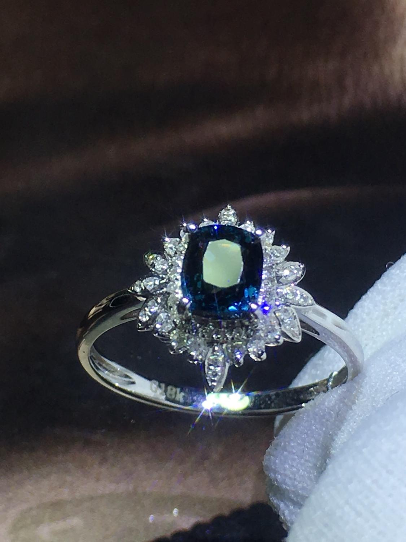 820 Fijne Sieraden Pure 18K White Gold Natuurlijke Blauw Spinel Edelstenen 0.98ct Diamonds Classic Ontwerp Vrouw Ringen voor presenteert - 2
