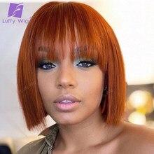 Cabelo humano curto bob perucas com franja brasileiro remy cabelo blunt corte bob peruca cor laranja reta glueless 150% densidade luffy