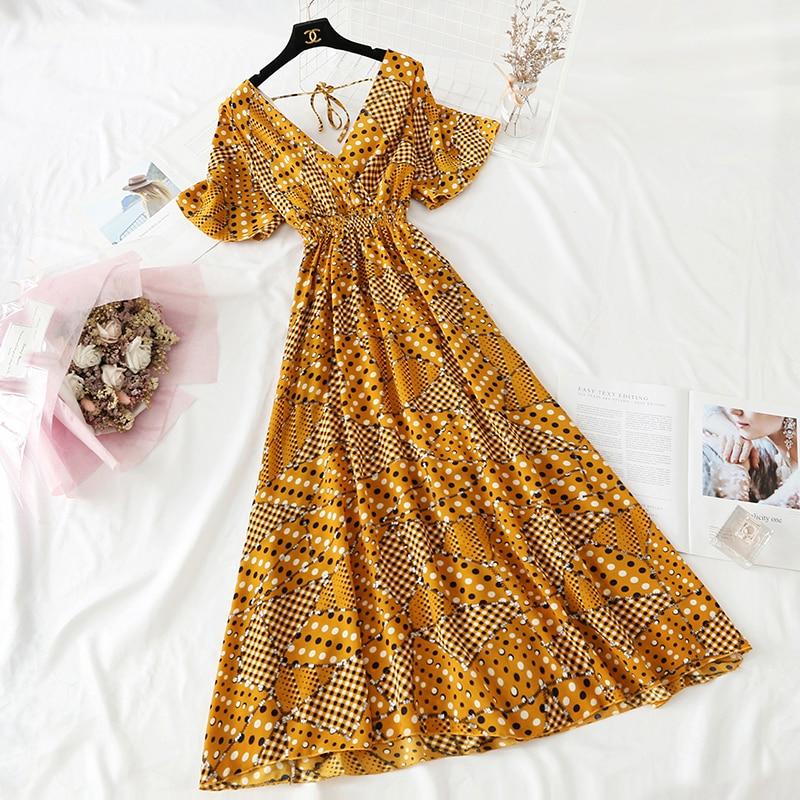 Summer Fairy Dress Women French Style Vintage Retro Chiffon Dress Short sleeve Casual Elegant Floral Print Dress Women 2021 New 25