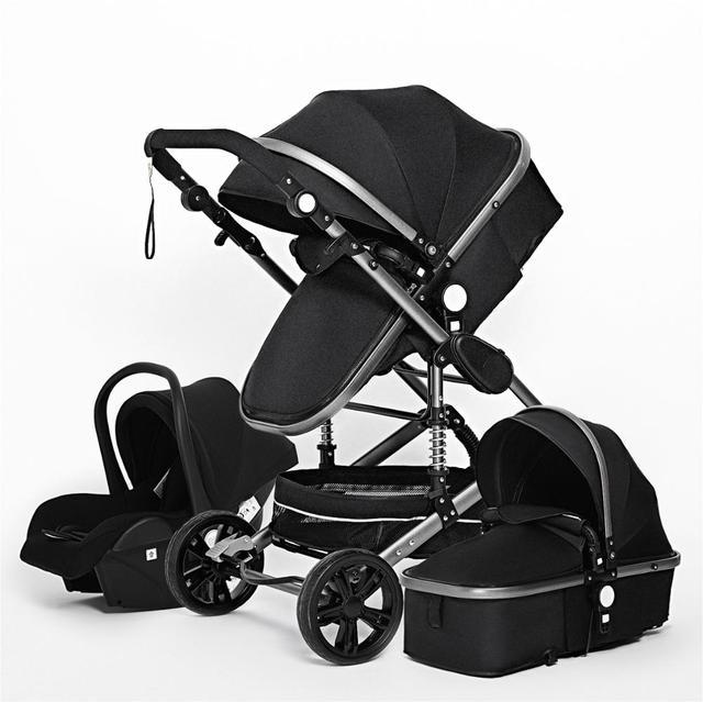 Luxuoso carrinho de bebê 3 em 1 genuíno portátil carrinho de bebê dobrável carrinho de bebê quadro de alumínio alta paisagem para o bebê recém-nascido 6