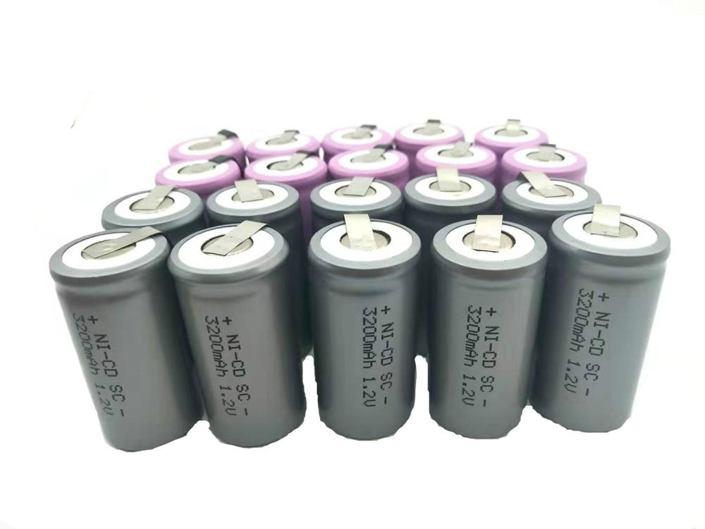 two colour 10 pcs sc Pink 3000mAh or Silver 3200mah rechargeable battery replacement 1.2V with tab an Extension SC batteries