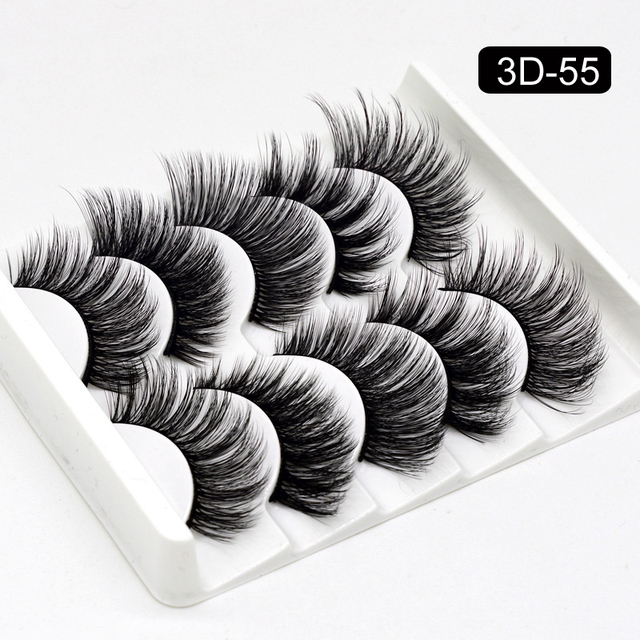 5 Packs False Eyelashes Extension Faux Cils 3D Mink Lashes Long Thick 15mm Natural Eye Lash Makeup Tools Wispy Lashes Wholesale 4