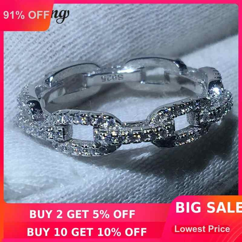 Choucong Роскошная Ювелирная цепочка стиль 100% Настоящее однотонное 925 пробы Серебряное кольцо AAAAA Циркон Обручальное кольцо кольца для мужчин и женщин подарок