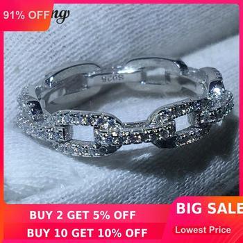 Choucong bijoux de luxe chaîne Style 100% réel solide 925 bague en argent sterling AAAAA Zircon anneaux de mariage pour femmes hommes cadeau