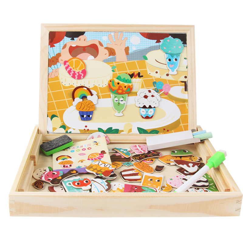 MWZ New Style English Animal Joypin Double-Sided Sketchpad Stereo Magnetic Puzzle Children Wooden Educational Toys