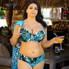 Blue Swimwear Plus Size Bikini Set Swimsuit Push Up Swimwear Large Size Beachwear Monokini Female Swimming Suit Bathing Biquini 2017 women plus size bikini set high quality bathing suit push up biquini super large cup swimwear sexy 4 colors solid swimsuit