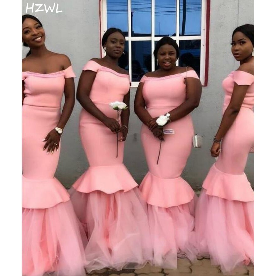 Pink Mermaid Bridesmaid Dresses Off Shoulder Sweep Train Tiered Wedding Guest Party Gowns Maid of Honor Dress Plus Size Custom