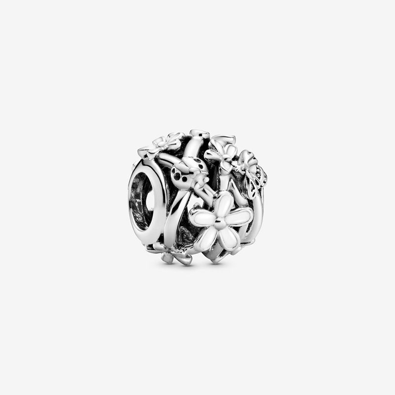 2020 Spring New 925 Sterling Silver Beads Openwork White Daisy Flower Charms Fit Original Pandora Bracelets Women DIY Jewelry