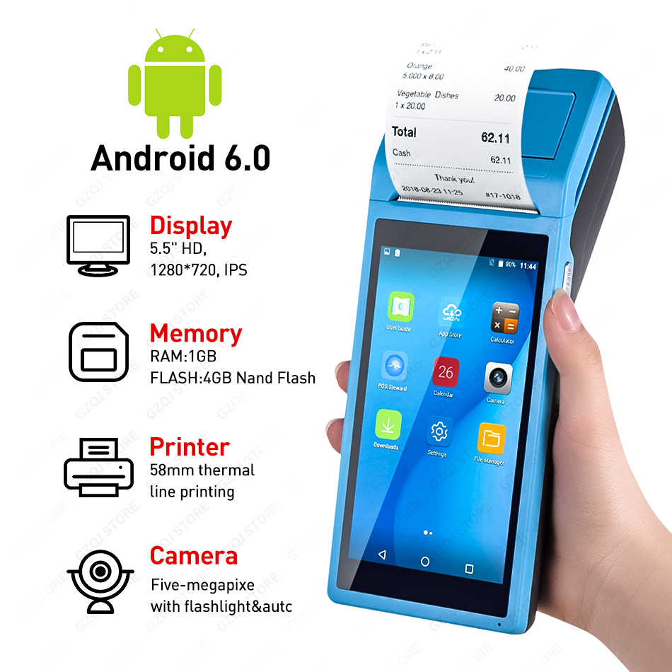 Pda Pos Perangkat Genggam POS Terminal Built In Thermal Printer Bluetooth 58 Mm WIFI Android Kasar PDA Barcode Kamera Scaner 1D 2D