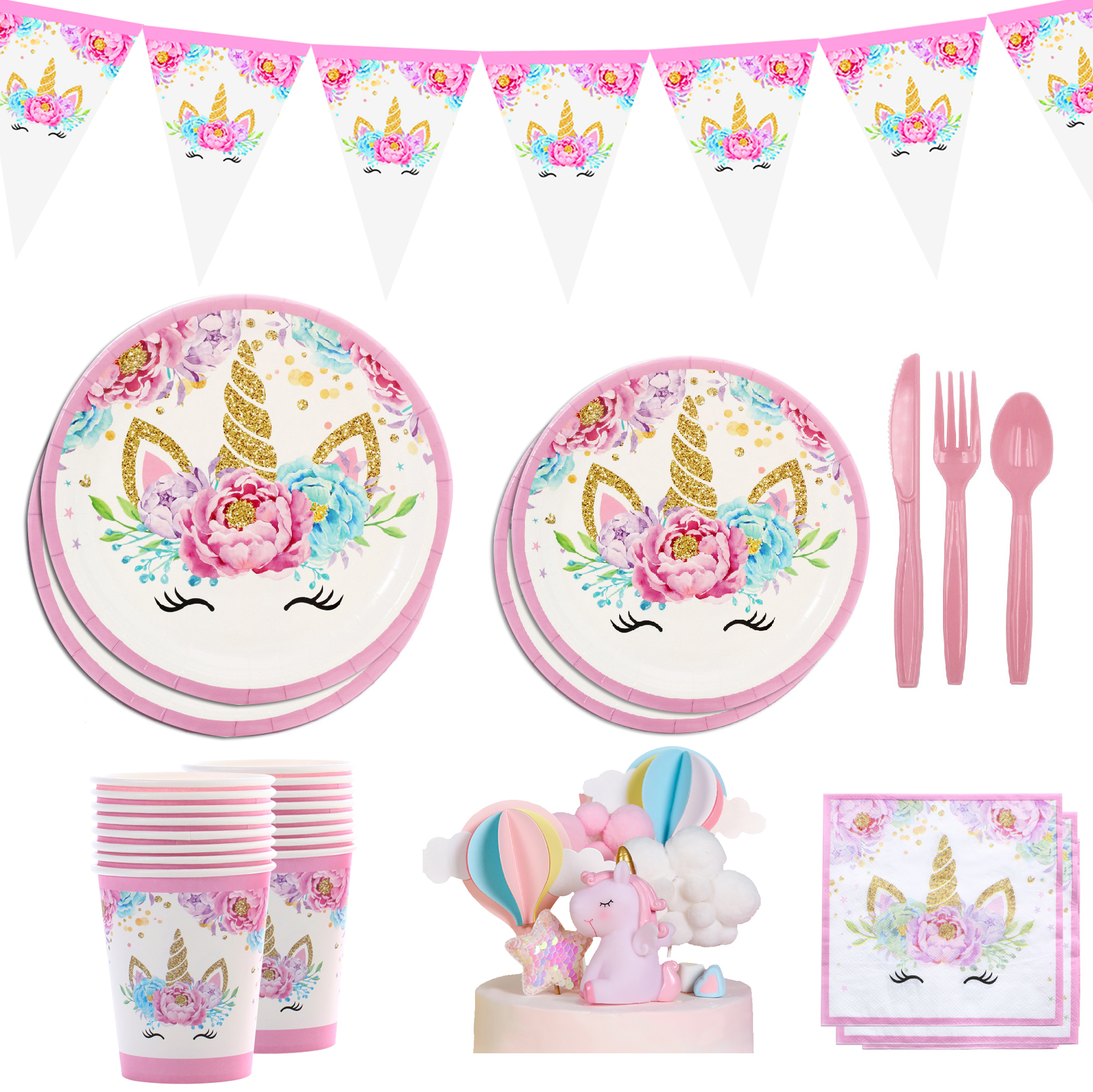 Pink Unicorn Disposable Tableware One Years Old Birthday Party Unicorinon Girl 1st Birthday Party Unicorn Baby Shower Decoratio
