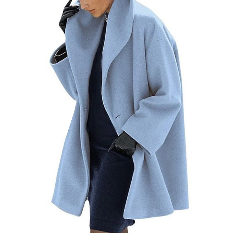 2019 Warmth Fashion Multicolor Cape Collar Female Outwear Coat Loose Women Pure Color Wool Jacket Long Pattern Street Style Coat