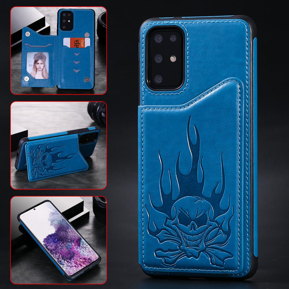 Embossed Skull Leather Phone Case For <font><b>Samsung</b></font> S20 <font><b>S10</b></font> Note10 S9 S8 Plus A50 <font><b>Flip</b></font> <font><b>Cover</b></font> Vintage Card Slot Pocket Wallet Case image