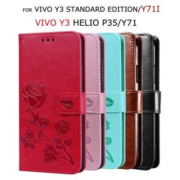 Перейти на Алиэкспресс и купить Чехол из искусственной кожи для Vivo Y71i Y3 Helio P35 флип-кейс для Vivo Y3 Standard Edition Y71 кошелек с подставкой защитный чехол для телефона Capas