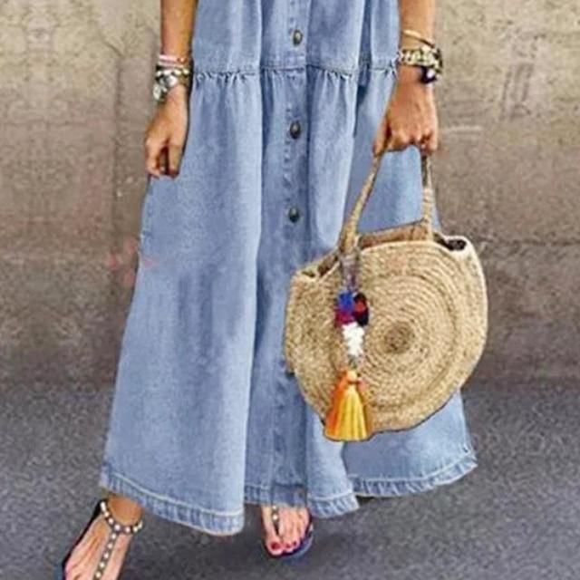 Plus Size 3xl Women Summer Denim Dress Retro Women Short Sleeve Turn Down Collar Pockets Button Long Loose Denim Dress 6