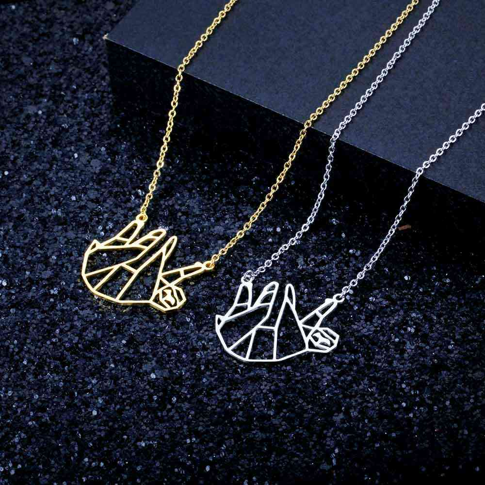 100% Real Stainless Steel Sloth Necklace Italy Design Special Gift Trend Jewelry Necklaces Personality Jewelry
