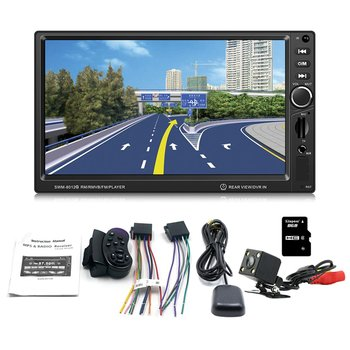 SWM-8012G 7-Inch Large Display Screen GPS Navigation Car DVD Brake Prompt Vehicle Music Player Support Mini TF Card