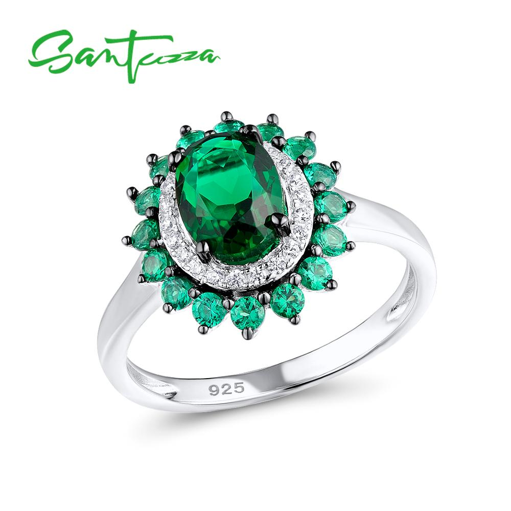 SANTUZZA Silver Rings For Women Authentic 925 Sterling Silver Luxury Sparkling Oval Green Spinel Trendy Party Rings Fine Jewelry