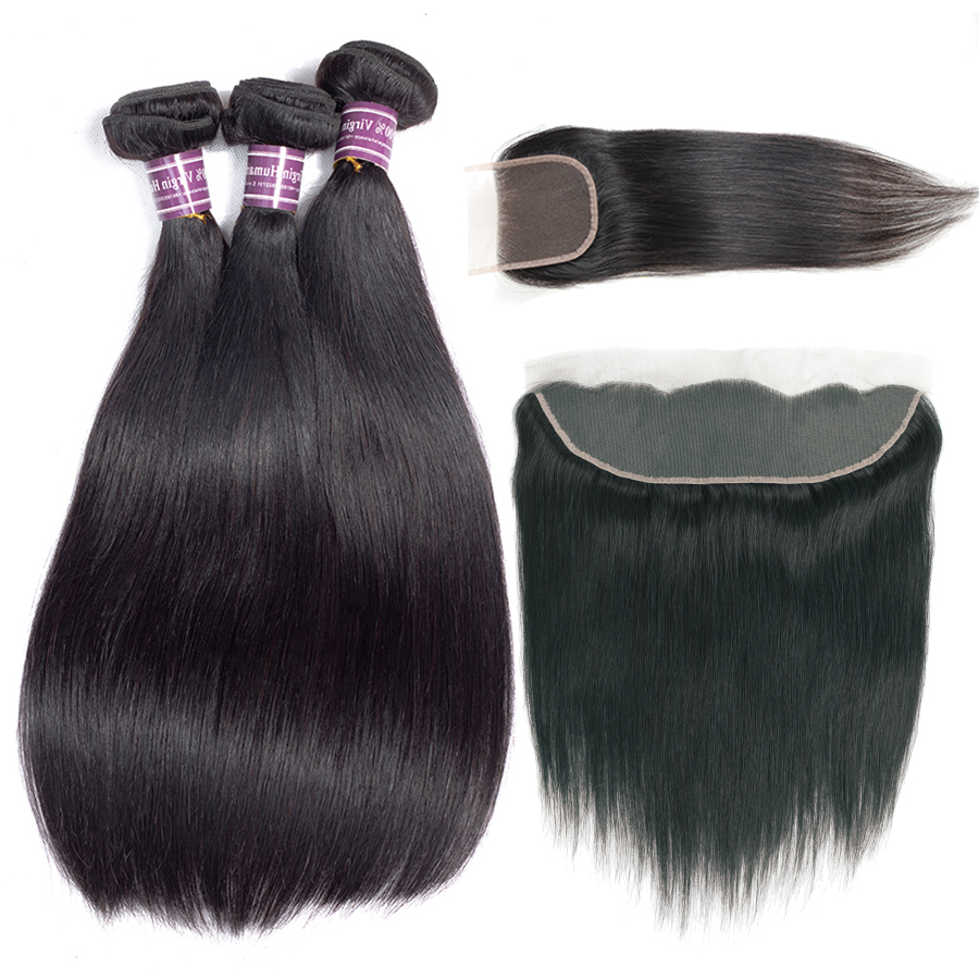 Human Hair Straight 3 4 Bundles With Lace Closure Frontal 4x4 Human Hair Extensions Straight Weave Bundles With 13x4 Frontal