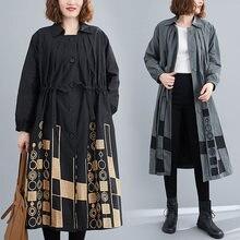 Новинка осени 2020 Вышитое художественное Свободное пальто средней