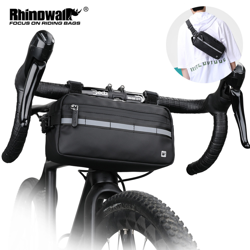 Road Bike Handlebar Bag Tochscreen top pouch insulated black reflective band