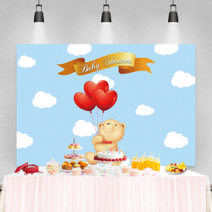 Image 3 - Laeacco Birthday Party Photography Backdrops Blue Sky White Clouds Balloons Bear Newborn Baby Shower Photo Backgrounds Photocall