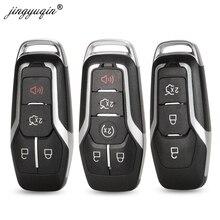Чехол для ключа дистанционного управления jinyuqin, 3/4/5 кнопки для Ford Mustang Edge Explorer Fusion Mondeo Kuka, чехол для ключа автомобильного ключа, необработанное лезвие