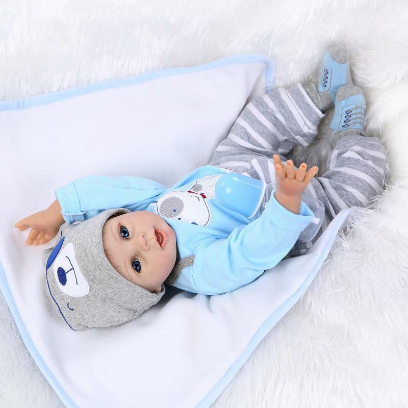 22'' Reborn Baby Dolls Toddler Boy/Girl Soft Silicone Handmade Newborn Bebe Gift Toys For Girls