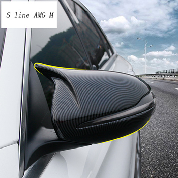 Car styling Carbon fiber for Mercedes Benz C E class W205 W213 GLC rearview mirror frame door Horn Covers Stickers accessories