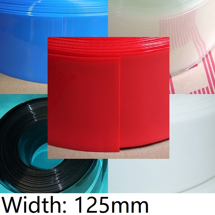 Szerokość 125mm PVC rurka termokurczliwa Dia 80mm bateria litowa izolowane folie do pakowania pokrowiec ochronny opakowanie drut rękaw kablowy termokurczliwy kolorowy