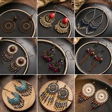 Multiple Vintage Boho Ethnic Long Tassel Dangle Drop Earrings for Women Female Fashion 2019 Wedding Charming Jewelry Accessories