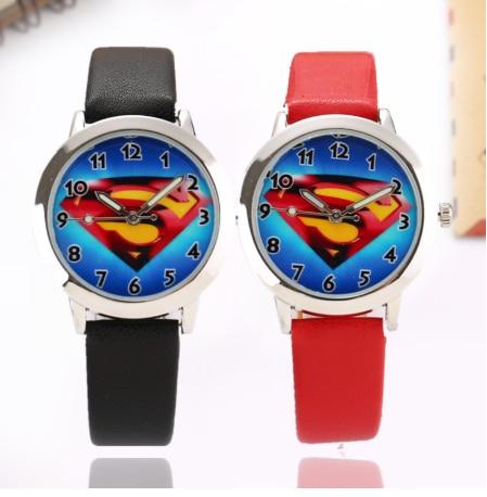 Superman Kids Watches Classic Design Pattern Boys Girls Cartoon Children Watch Leather Strap Quartz Kids Watch Erkek Kol Saati