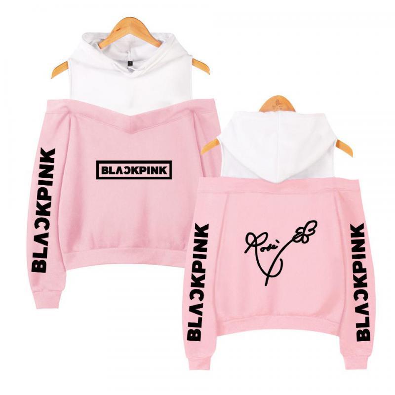 BLACKPINK In Women's Off-shoulder Sexy Girls Hoodies Sweatshirt Exclusive Kpop Casual Autumn Cool Hoodies Custom