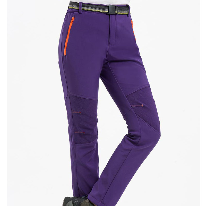 Trekking Ski Pants Women Warm Fleece Softshell Pants Windproof Waterproof Snowboard Pants Outdoor Climbing Hunting Hiking Pants