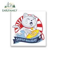 EARLFAMILY 13cm x for Lucky Cat Japan Surfing Funny Car Stickers Cartoon Oem Waterproof Vinyl JDM Bumper Trunk Graphics