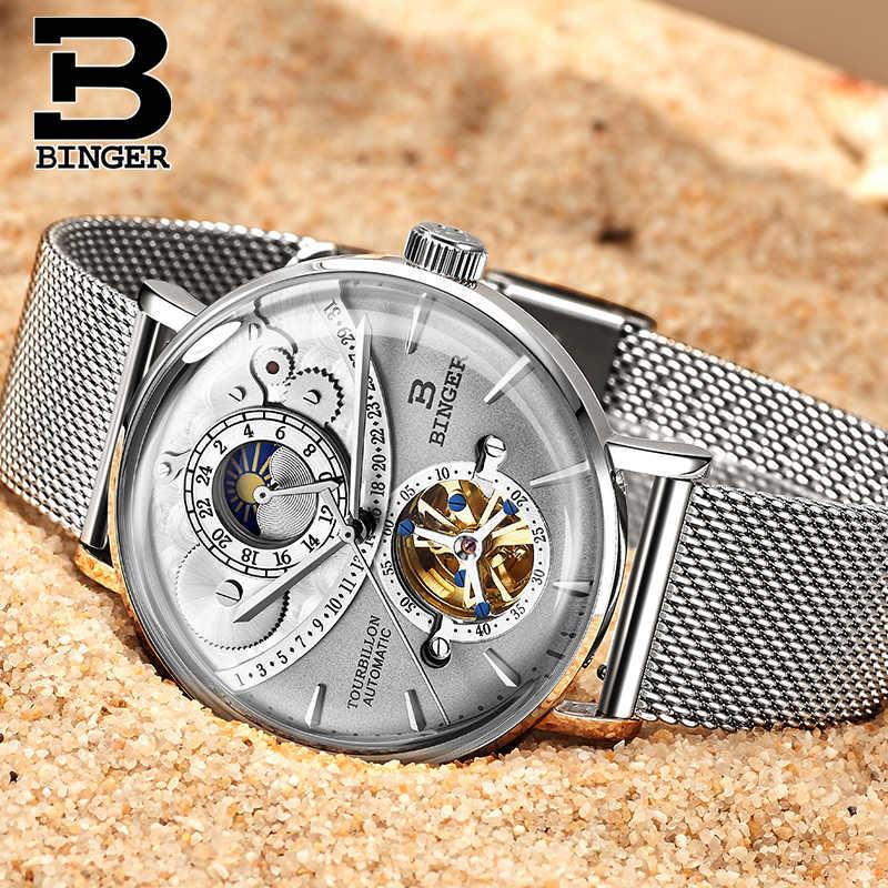 Suisse automatique montre hommes BINGER squelette mécanique hommes montres marque de mode horloge Relogio Masculino étanche 2019
