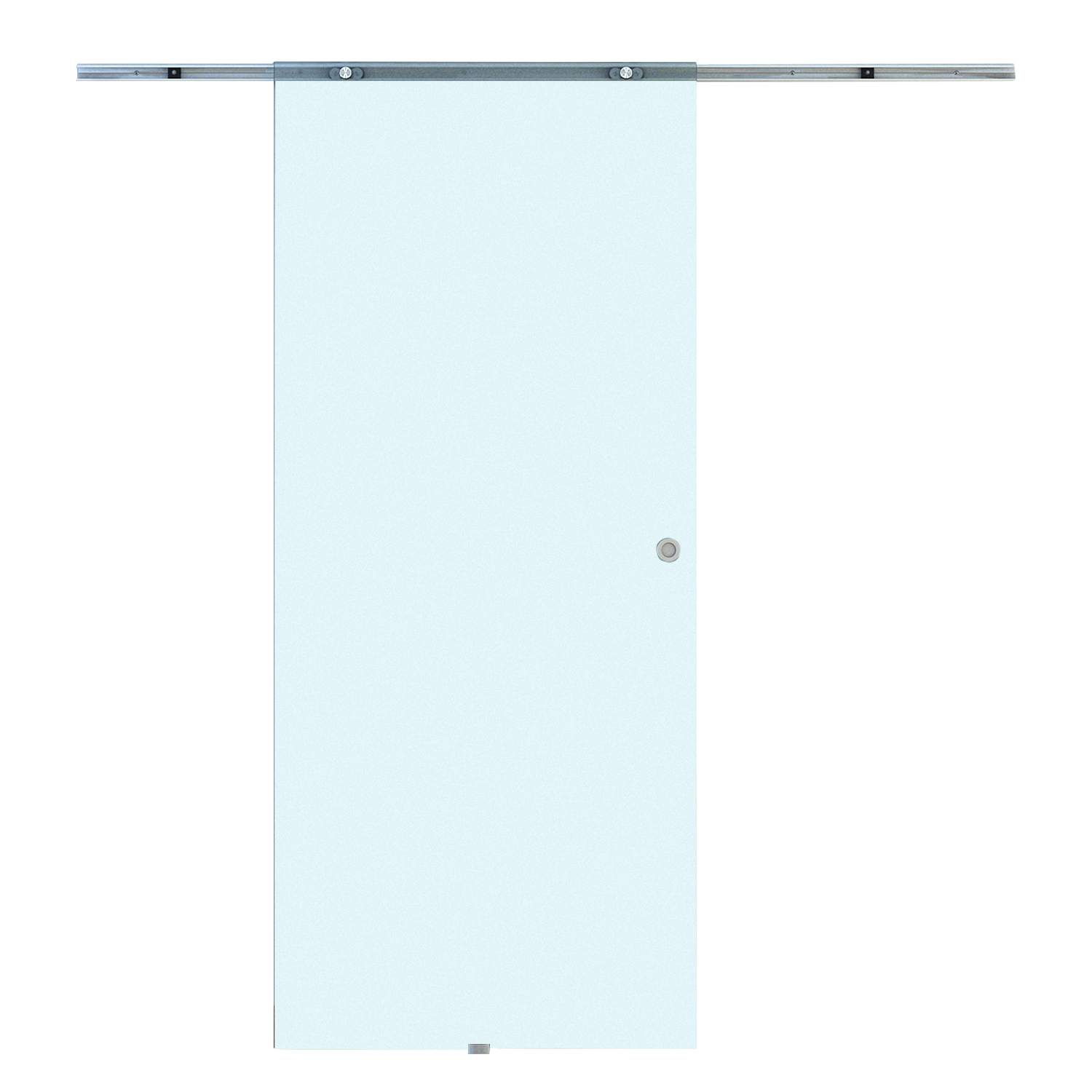 HOMCOM Sliding Door Interior Frosted Glass With Aluminum Track 77.5 × 205 × 0.8cm