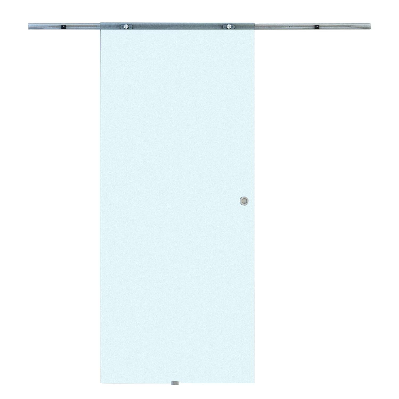 HOMCOM Sliding Door Interior Frosted Glass With Aluminum Track 77.5 × 205 × 0.8cm