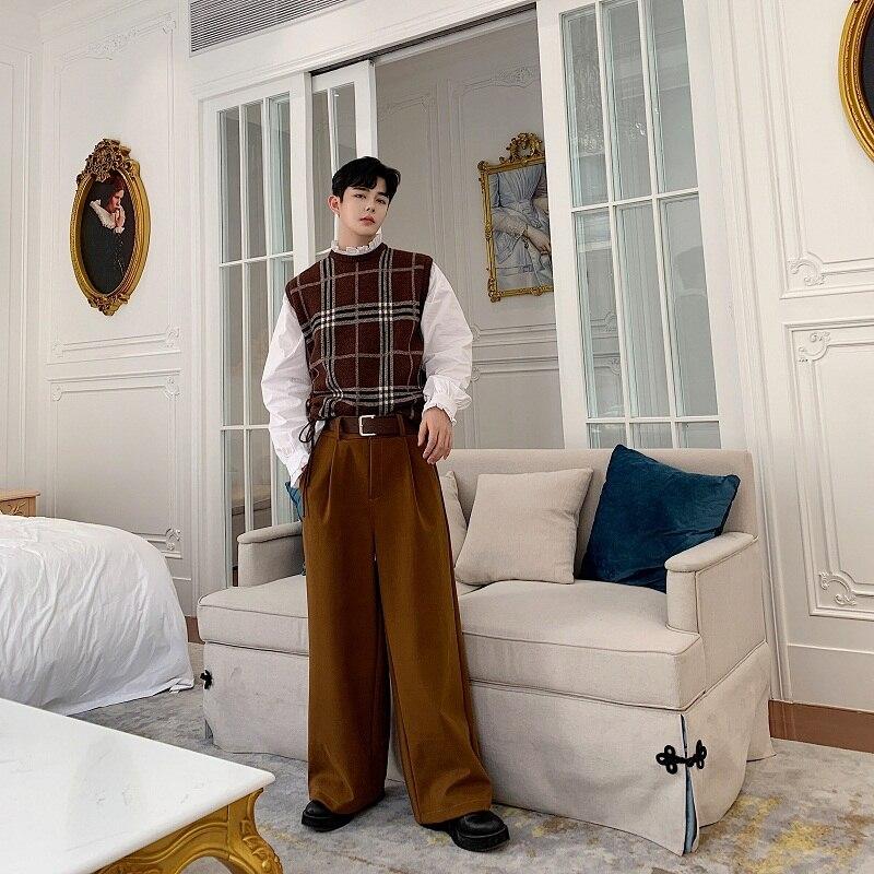 Male Japan Streetwear Vintage Straight Pants Long Trousers Men Autumn Winter Thick Wool Loose Wide Leg Pants