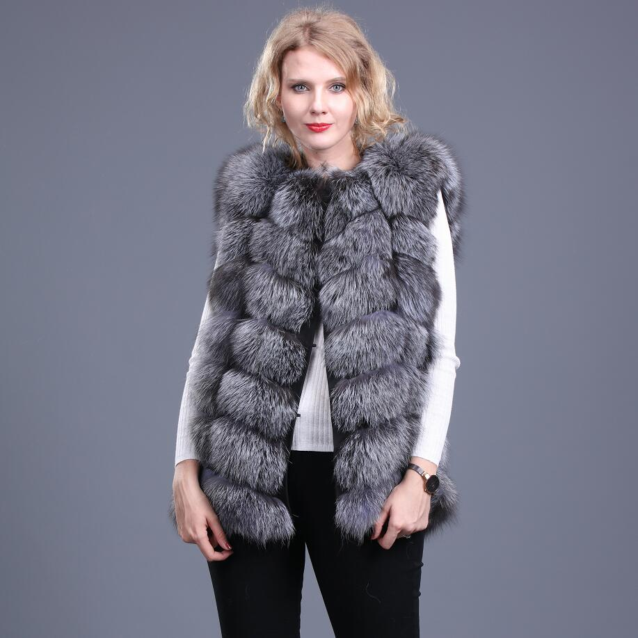 Women's new natural fire fox fur vest Real red fox fur making Silver fox fur vest Winter warm fashion Casual European station st