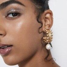2019 New Vintage Gold Metal Small Hoop Earrings Women Fashion Simulated Pearl Semicircle Pendientes