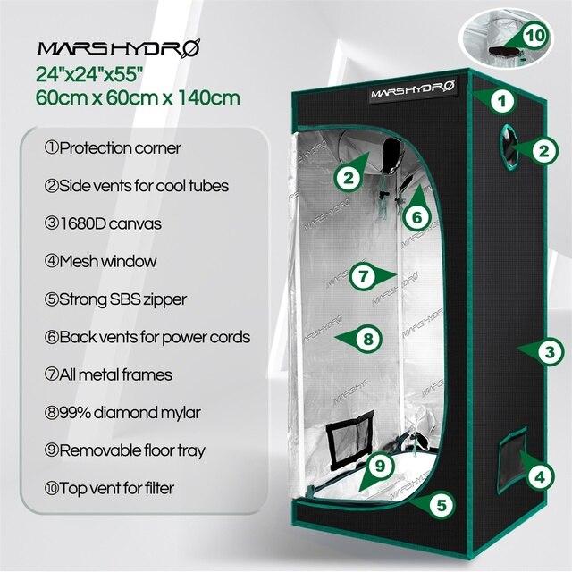 1680D Mars Hydro 60x60x140cm LED Grow Tent box Indoor 2