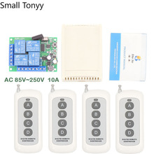 433MHz Universal Long Range Remote Control AC220V 10Amp 4CH rf Relay Receiver and Transmitter for Electric curtain\ garage door цена