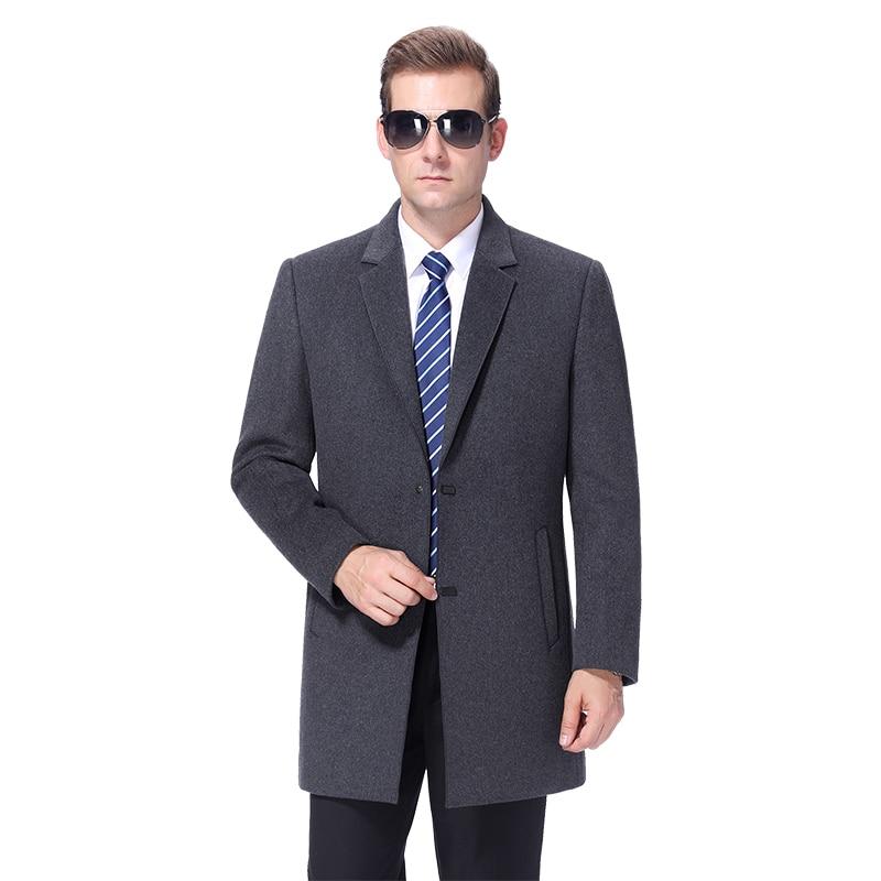 2020 New Men Wool Blend Coat Autumn Woolen Coat Male Pea Сoat Winter Warm Wool Cashmere Coat Long Jacket Mens Overcoat Outwear