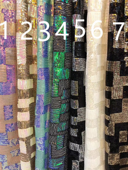 Fashion sequins embroiderd lace fabric 3H-42604 with sequins beautiful Nigerian sequins lace fabric for party dress